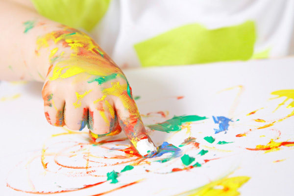 painting baby hand